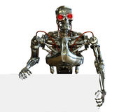 Chrome Robot with Sign Edge. 3D render of a chrome robot with the edge of a blank sign Stock Photo