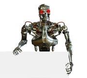 Chrome Robot With Sign Edge Stock Photo