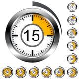 Chrome round timers Stock Photos