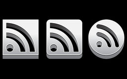 Chrome RSS Icons EPS Royalty Free Stock Photo