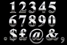 Chrome Serif Numbers. Times Roman Bold Numbers and Symbols on black Royalty Free Stock Photography