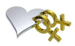 Chrome sex symbols linked with heart Royalty Free Stock Photography