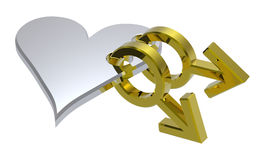Chrome sex symbols linked with heart. Computer generated 3D photo rendering Royalty Free Stock Photography
