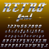 Chrome shiny retro, vintage font, typeface, mado of metal or steel Royalty Free Stock Photos