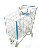 Chrome Shopping Cart. Old shopping cart chrome with blue trim isolated on white royalty free stock images
