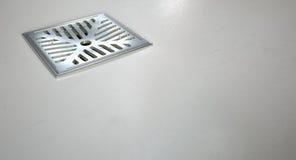 Chrome Shower Floor Drain Closeup Stock Photo