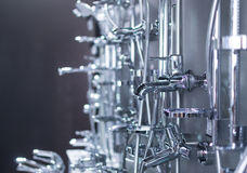Chrome Shower Heads and Taps Stock Photo