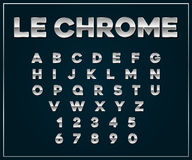 Chrome Silver Metallic Font Set. Letters, Numbers. Royalty Free Stock Photography