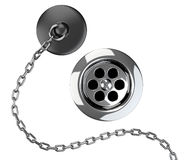 Chrome sink drain and rubber plug with chain Royalty Free Stock Images