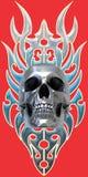 Chrome skull on tribal Stock Images