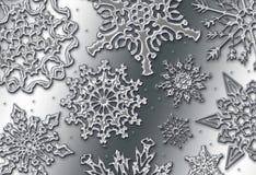 Chrome Snow. Shiny metallic snowflakes in a chrome style Vector Illustration