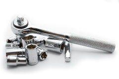 Chrome socket wrench set Royalty Free Stock Image