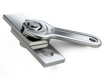 Chrome spanner, nut and bolt Stock Photography