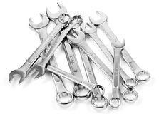 Chrome spanners in a white background Royalty Free Stock Images