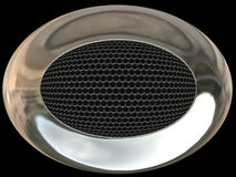 Chrome speaker. Bright chrome speaker with metal grid inside Royalty Free Stock Image