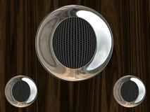 Chrome speaker. Bright chrome speaker with metal grid inside Stock Photos