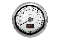 Chrome speedometer Stock Photo