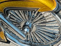 Chrome spokes, motorcycle wheel. Extreme state of the art motorcycle wheel, chrome spokes Stock Images