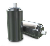 Chrome Spray. Two 3D spray cans placed on a white background Stock Photo