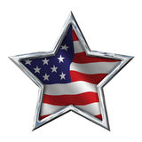 Chrome Star with Flag on white Royalty Free Stock Image