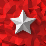 Chrome star on the red Stock Photos