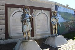 Chief Cornstalk and Colonel Lewis Statues. Chrome statues of Chief Cornstalk and Colonel Lewis in Point Pleasant West Virginia Stock Photos