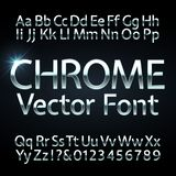 Chrome, steel or silver letters and numbers vector alphabet. Metallic typeface, font. Steel chrome alphabet and silver numers illustration royalty free illustration