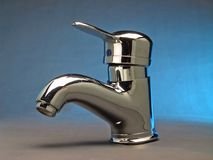 Chrome steel tap faucet. Steel chrome water  drip faucet with retro design Stock Images