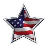 Chrome-Stern mit Flagge auf Weiß lizenzfreie abbildung