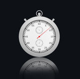 Chrome Stopwatch on black background with Stock Photography