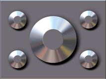 Chrome studs. 1 large and 4 small chrome studs on metal background royalty free illustration
