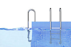 Chrome Swimming Pool Ladders in Water. 3d Rendering Royalty Free Stock Photos