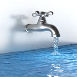 Chrome tap with a water stream Stock Photography
