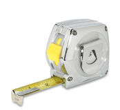 Chrome tapemeasure on white with path Royalty Free Stock Images