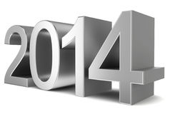 2014 chrome text. 3d illustration on white background Royalty Free Stock Photography