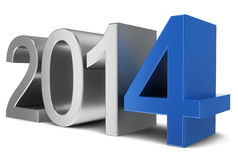 2014 chrome text. 3d illustration on white background Royalty Free Stock Images