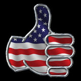 Chrome Thumbs Up with Flag on black Stock Photos