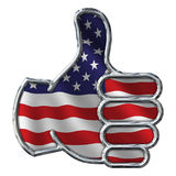 Chrome Thumbs Up with Flag on white Royalty Free Stock Photos