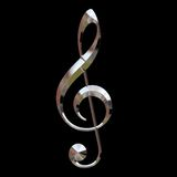 Chrome treble clef Royalty Free Stock Photo