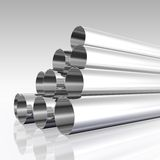 Chrome tubes. Pack of chrome or steel tubes 3D rendered illustration Stock Photography