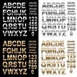 Chrome- und Goldeffektalphabetguß mit Buchstaben und Zahlen, mutige Arttext-Vektorillustration vektor abbildung