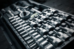 Chrome vanadium wrench set, tool, detail Royalty Free Stock Image