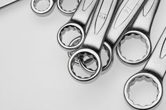 Chrome-Vanadium Wrenches of Different Sizes. Stock Photography