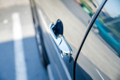 Chrome vehicle door handle Royalty Free Stock Images