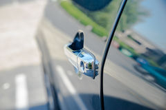Chrome vehicle door handle royalty free stock photography
