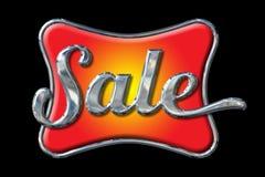 Chrome-Verkaufs-Beschriftung auf Schwarzem lizenzfreie abbildung