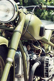 Chrome veteran motorbike Royalty Free Stock Image