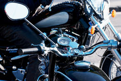 Chrome veteran motorbikes with rearview mirror Royalty Free Stock Images