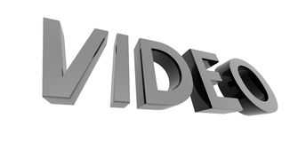 Chrome video. 3D render of metallic text on a white background, video Royalty Free Stock Photo