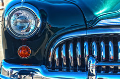 Chrome on a Vintage Car. A close-up view of the chrome work on a vintage automobile from the late 1940s Stock Photos